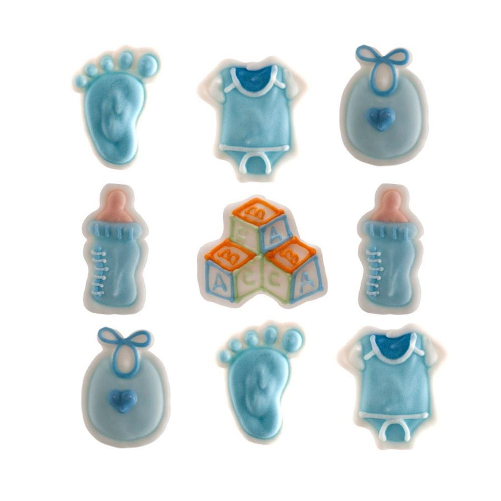 Juego de 9 Decoraciones de Azúcar Bebé Azul