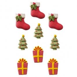 Juego de 9 figuritas de azúcar Navidad