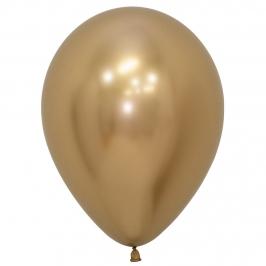 Pack de 12 Globos Reflex Dorado 30 cm