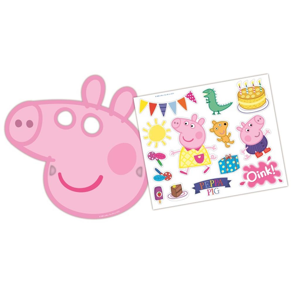 Set de 6 Caretas y Pegatinas Peppa Pig