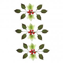 Set de 8 Flores de Azúcar Navidad Verde y Rojo 11 cm
