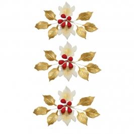 Set de 8 Flores de Azúcar Navidad Oro y Rojo 11 cm