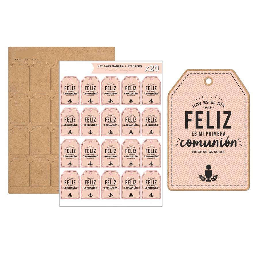 Kit de 20 Etiquetas de Madera Comunión Rosa
