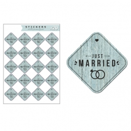 Kit de 20 Etiquetas de Vinilo Adhesivo Just Married