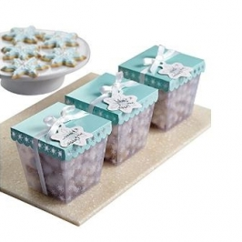 Kit de 3 cajitas para dulces copos de nieve
