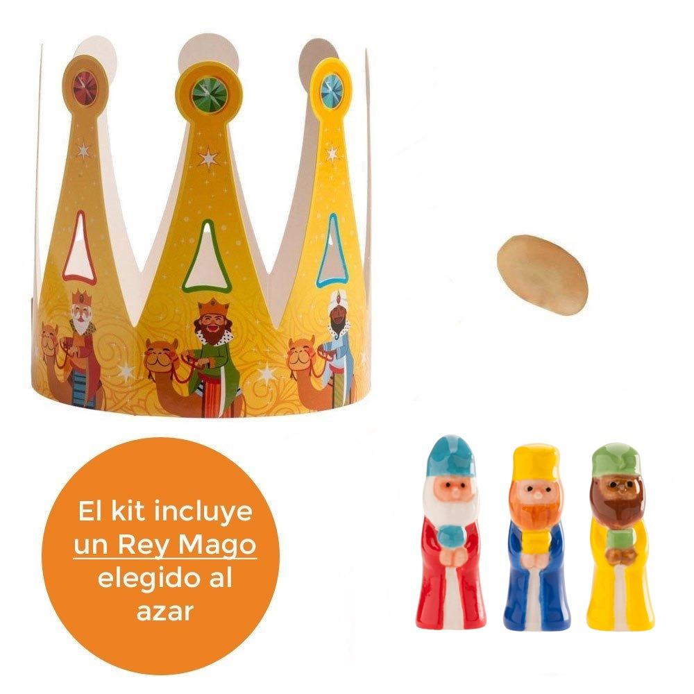 Kit Figuras Roscón Rey, Haba y Corona Gigante