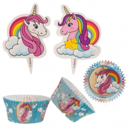 Kit para Decoración de Cupcakes Unicornio