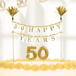 Kit para Tartas 50 Aniversario Gold Sparkling