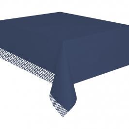 Mantel de plástico azul marino y blanco de 180 cm de largo