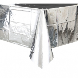 Mantel de Plástico Metalizado Plata