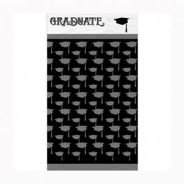 Mantel de plástico negro con birretes grises para graduación de 1,37 m x 2,13 m