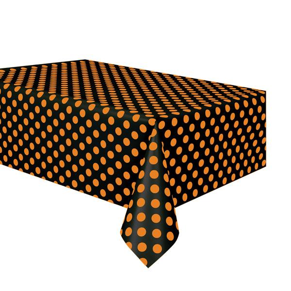 Mantel de plástico negro con lunares naranjas