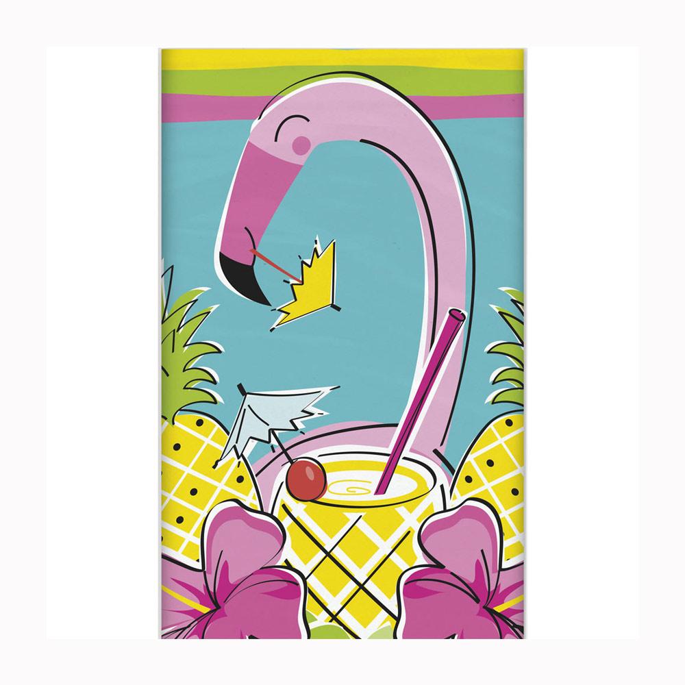 Mantel flamingo rosa y piñas de plástico 1,4 m x 2,1 m