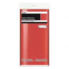 Mantel de Plástico Rectangular Rojo Metalizado 274 cm x 137 cm
