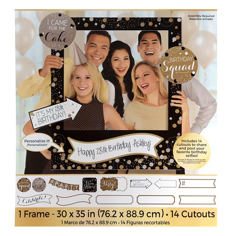 Marco Gigante para Photocall Gold Sparkling con Accesorios