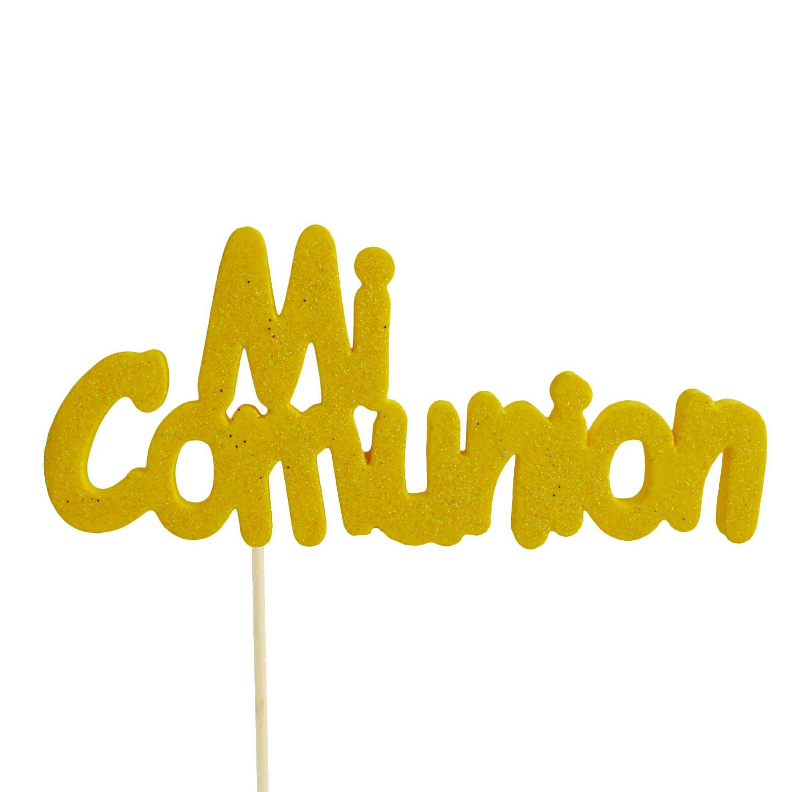 Decoración para tarta Mi comunión amarillo