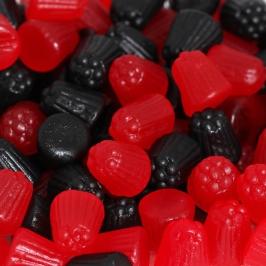Mini Moras de Gominola Rojas y Negras 1 Kg