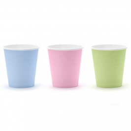 Mix de 6 vasos en colores pastel de 180 ml