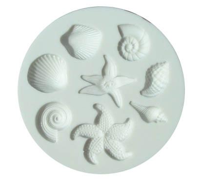 Molde de Silicona Conchas y Estrellas de Mar