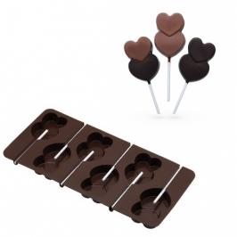 Molde para piruletas de chocolate corazones