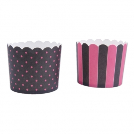 Muffin Wrapper Black & Pink 12 ud