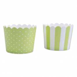 Mini Muffin Wrapper Green & White