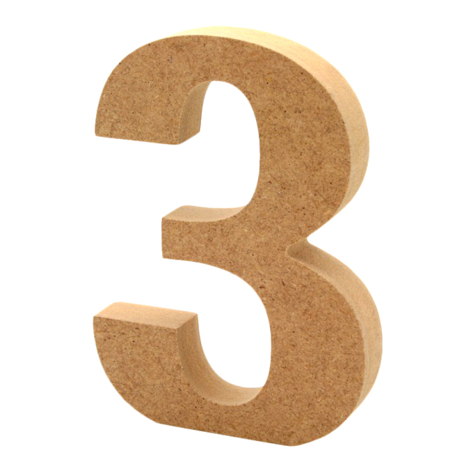 Número 3 de Madera 12cm