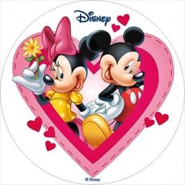 Oblea Mickey y Minnie en un corazón 20cm