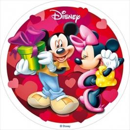 Oblea Mickey y Minnie enamorados 20cm