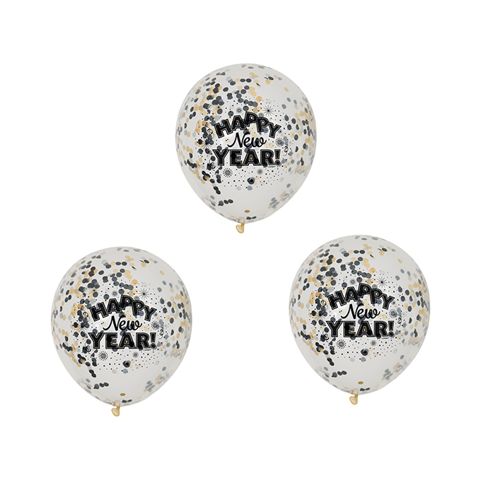 Pack 6 Globos Año Nuevo con Confeti