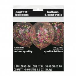 Pack 6 Globos Transparentes con Confeti Colores Neón