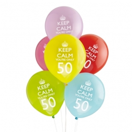 Pack 8 globos Keep Calm 50th