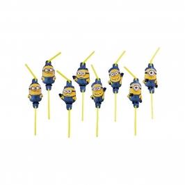 Pack 8 pajitas Minions