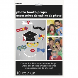 Pack de 10 accesorios para photocall para utilizar en tu fiesta de graduación