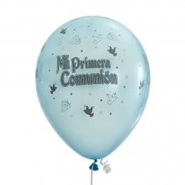 Pack de 10 globos de comunión color celeste satinado