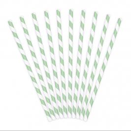 Pack de 10 Pajitas de Papel Rayas Verdes
