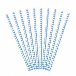 Pack de 10 Pajitas de Papel Rombos Azules
