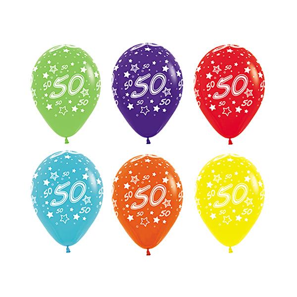Pack de 12 Globos Colores Surtidos 50 Cumpleaños 30 cm