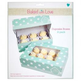 Pack de 2 Cajas para Cupcakes Verdes con Lunares