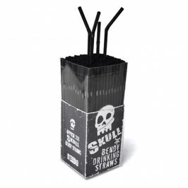 Pack de 200 Pajitas de Plástico Negras