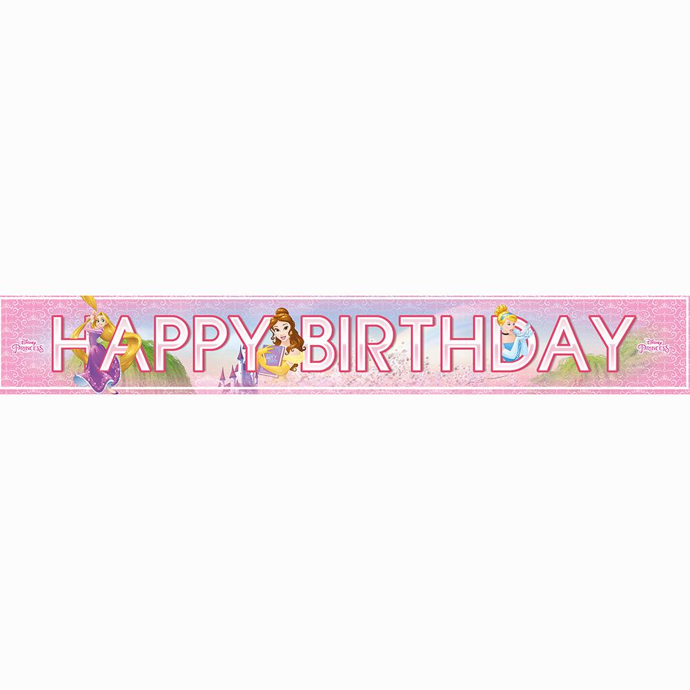 Pack de 3 Banderines Happy Birthday Princesas Disney