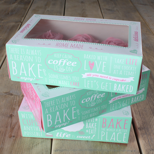 Pack de 3 cajas para cupcakes modelo Bakery