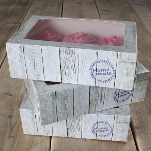 Pack de 3 cajas para cupcakes modelo Home Made