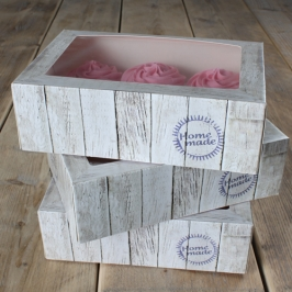 Pack de 3 cajas para cupcakes modelo Home Made