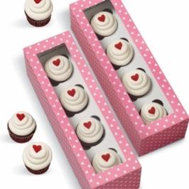 Pack de 4 cajas para mini Cupcakes Corazones