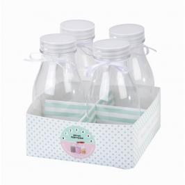 Pack de 4 mini botellas de leche.