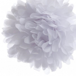 Pack de 4 pompones de seda Blanco 25 cm