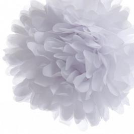 Pack de 4 pompones de seda Blanco 35 cm