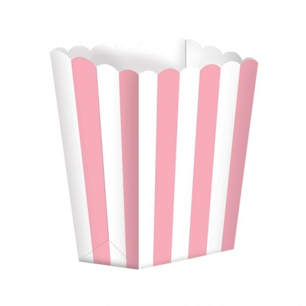 Pack de 5 cajitas para palomitas rosas y blancas