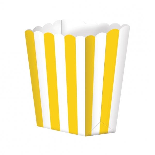 Pack de 5 cajitas para palomitas amarillas y blancas